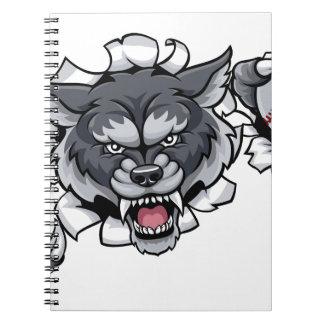 Wolf-Baseball-Maskottchen, das Hintergrund bricht Notizblock