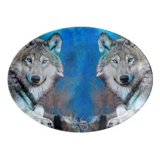 Wolf-blaue Medien-Kunst Porzellan Servierplatte
