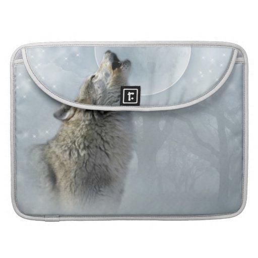 Wolf-blauer Mond-Rickshaw-Klappen-Hülse Sleeves Für MacBooks