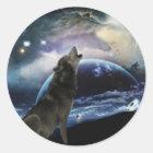 Wolf, der am Mond heult Runder Aufkleber
