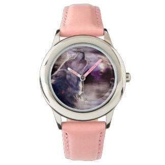 Wolf, der am Mond heult Uhr