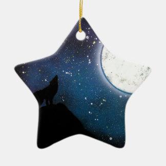 Wolf, der an der Mond-Sprühfarbe-Kunst-Malerei Keramik Ornament