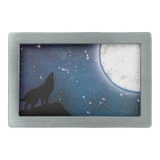 Wolf, der an der Mond-Sprühfarbe-Kunst-Malerei Rechteckige Gürtelschnallen