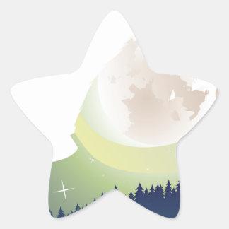 Wolf, der im Nachtwald 3 heult Stern-Aufkleber