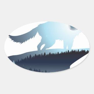 Wolf, der in der Nacht Forest1 2 heult Ovaler Aufkleber