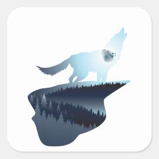 Wolf, der in der Nacht Forest1 2 heult Quadratischer Aufkleber