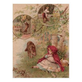 Wolf, der in Richtung zum Rotkäppchen geht Postkarte