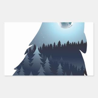 Wolf, der mit Wald 4 heult Rechteckiger Aufkleber