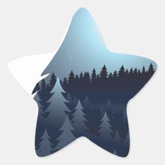 Wolf, der mit Wald 4 heult Stern-Aufkleber