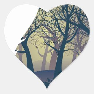 Wolf, der mit Wald heult Herz-Aufkleber
