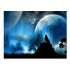 Wolf, der zur 2 Mond-Postkarte heult Postkarte