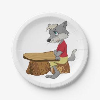 Wolf ein am Tabellen-Papier-Teller Pappteller