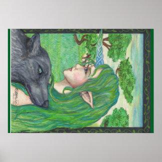 Wolf-Elf-feenhafte Fantasie-Magie Poster