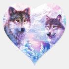 Wolf-Familie Herz-Aufkleber