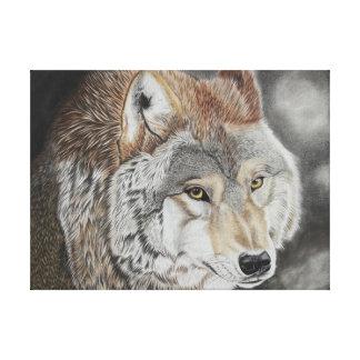 Wolf - Farbstiftzeichnung Leinwanddruck