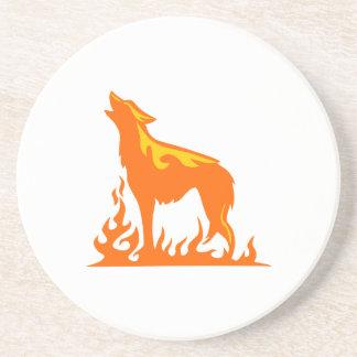Wolf-Flammen Sandstein Untersetzer