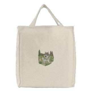 Wolf-Geist Bestickte Einkaufstaschen