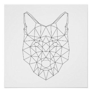 Wolf-geometrischer schwarzer u. weißer perfektes poster
