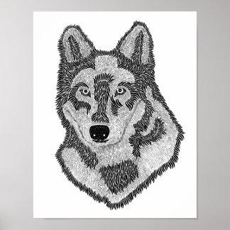 Wolf-Gesicht Poster