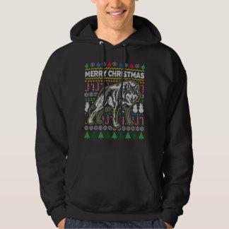 Wolf-hässliche Weihnachtsstrickjacke-Tier-Reihe Hoodie