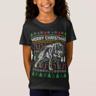 Wolf-hässliche Weihnachtsstrickjacke-Tier-Reihe T-Shirt