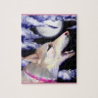 Wolf-Hund, der an Mond Tan deutschem shephard Puzzle