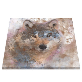 Wolf im Aquarell Leinwanddruck