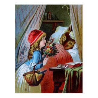 Wolf im Großmutter-Bett Postkarte