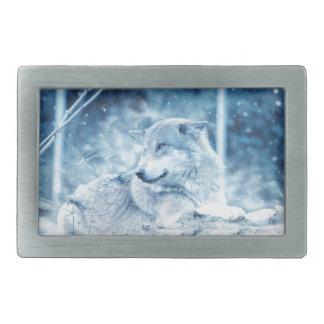 Wolf im Schnee Rechteckige Gürtelschnallen