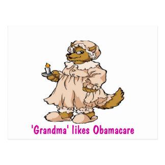 Wolf in der Kleidung der Großmutter Postkarte