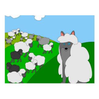 Wolf in der Kleidung des Schafs Postkarte