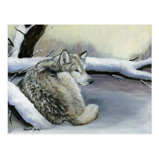 Wolf in der Schnee-Tierkunst-Postkarte Postkarte