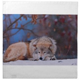 Wolf-Jagden im Schnee Serviette