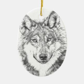 Wolf Keramik Ornament