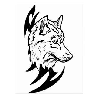 Wolf-Kopf-Entwurf Postkarte