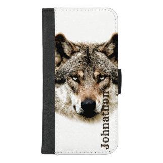 Wolf-Kopf für Männer und jugendlich Jungen iPhone 8/7 Plus Geldbeutel-Hülle