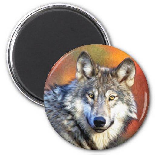 Wolf-Kunst-Malerei Magnete