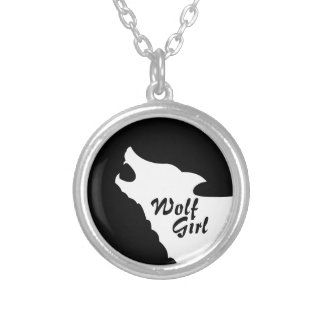 Wolf-Mädchen Versilberte Kette