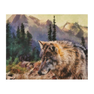 Wolf-Malerei Holzleinwand