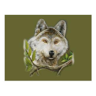 Wolf-Malerei mit gerade Gesicht Postkarte