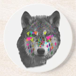 Wolf mit geometrischen Formen Untersetzer