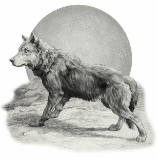 Wolf-Mond-Profil Freistehende Fotoskulptur