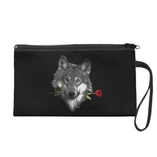 Wolf-Rose Wristlet Handtasche