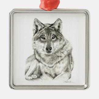 Wolf Silbernes Ornament