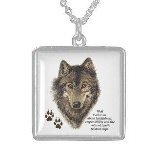 Wolf-Totem-Tierführer-Aquarell-Natur-Kunst Amuletten
