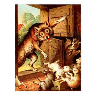 Wolf u. sieben Jungen ~ Märchen-Kunst-Malerei Postkarte