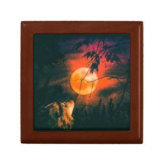 Wolf und der Met-Mond Schmuckschachtel