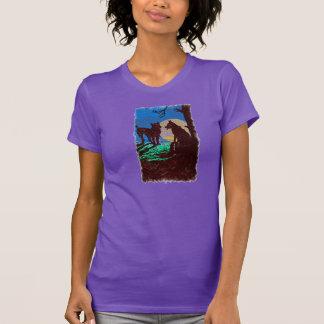 Wolf und Hund mit Vollmond T-Shirt