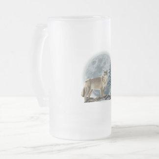 Wolf und Mond entwerfen für Glasbierbecher Mattglas Bierglas