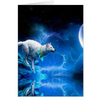 Wolf und Mond Karte